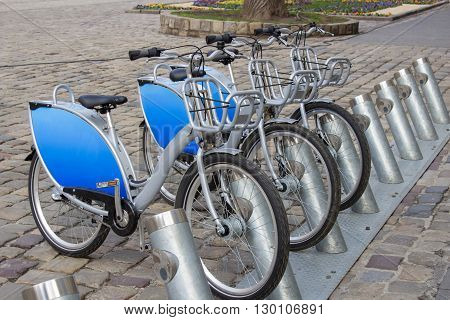 Row of city bikes for rent in Paris, France