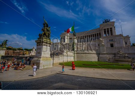 ROME, ITALY - JUNE 13, 2015: Vittorio Emanuele II monument or Altar of motherland was constructed in honor of the first king of United Italy, nice place to visit