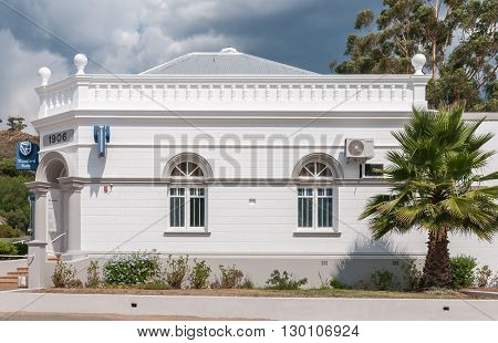 UNIONDALE SOUTH AFRICA - MARCH 5 2016: A storm brewing over a historic building in Uniondale built in 1906
