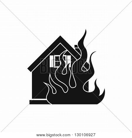 House on fire icon in simple style on a white background