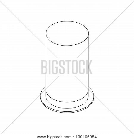 Top hat with high cylindrical crown icon in isometric 3d style isolated on white background