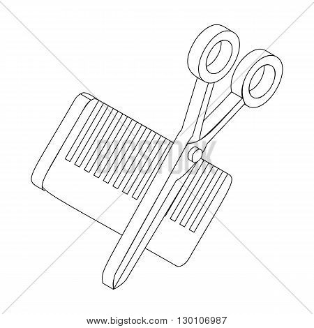 Comb and scissors icon in isometric 3d style isolated on white background