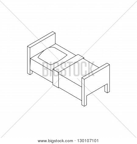 Single bed icon in isometric 3d style isolated on white background