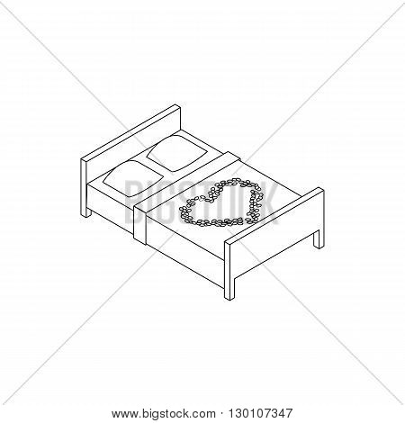 Double bed with laid out heart icon in isometric 3d style isolated on white background