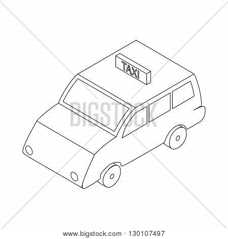 Taxi car icon in isometric 3d style isolated on white background
