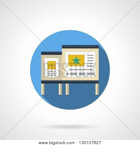 Two poster boards with ads. Marketing, promotion and commerce objects. Outdoor advertising, information along roads and urban streets. Round flat color style vector icon.