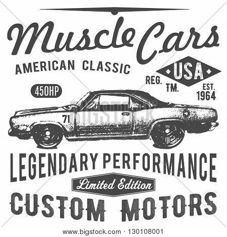 T-shirt Typography Design, Retro Car Vector, Printing Graphics, Typographic Vector Illustration, Vin
