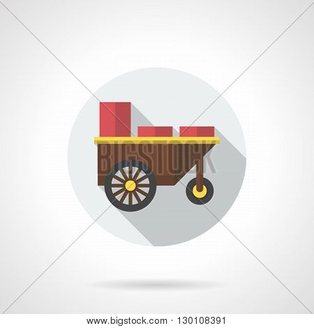 Shop trailer with red containers for selling snacks. Street trade of food on marketplace, in parks, at festivals. Round flat color style vector icon.