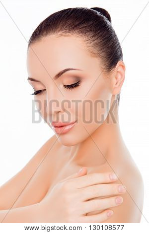 Close Up Portrait Of Calm Brunette With Closed Eyes Touching Shoulder