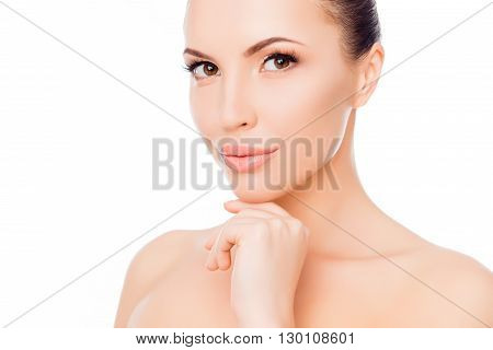 Pretty Naked Young Woman Touching Her Chin