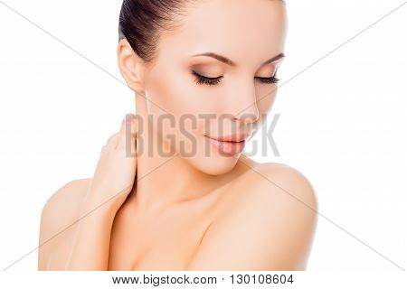 Relaxed Sensitive Woman With Closed Eyes Touching Her Neck