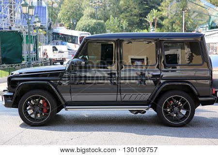 Monte-Carlo Monaco - May 17 2016: Luxury Black SUV Mercedes G 63 AMG Parked in Front of the Monte-Carlo Casino in Monaco