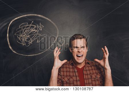 Portrait Of Frustrated Angry Man At Loss Shouting Loud