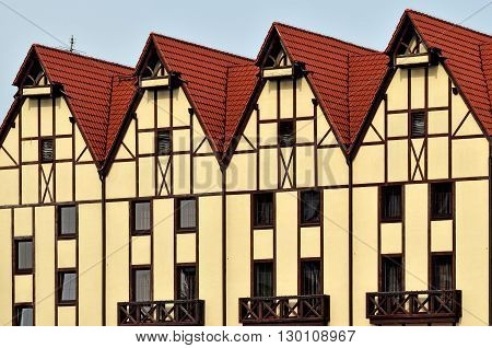 Half timbered architecture. Fishing Village, Kaliningrad, Russia