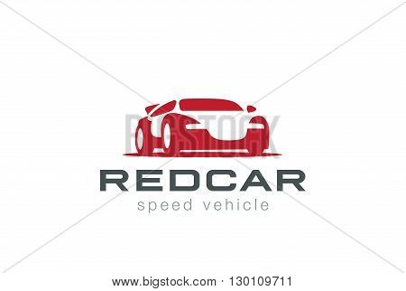 Red Sport Car  Logo design vector Negative space style icon.