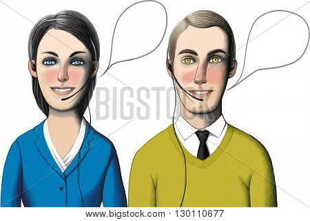 Man and woman working in call-center