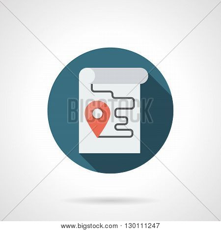 Paper sheet with red pointer and route line. Sign of location of city facilities. Symbol for navigation, cartography, satellite finding object. Round flat color style vector icon.