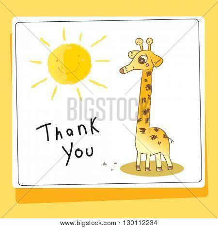 Kids thank you card vector illustration, giraffe.