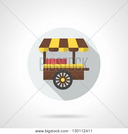 Two-wheeled trolley with striped brown and yellow awning. Street fast food trade cart for sale burgers, sausages, hot dogs and sandwiches. Outdoors lunch. Round flat color style vector icon.