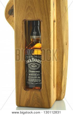 CIRCA MAY 2016 - GDANSK: Bottle of Jack Daniels whiskey in decorative wooden box isolated on white background. Jack Daniels sour mash whiskey has been distilled in Tennessee USA since 1866.