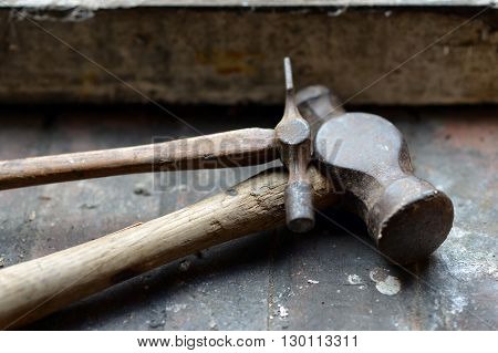 Vintage and antique hammers in a workshop