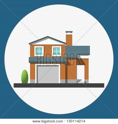 home building flat icon,  Family suburban home. Vector illustration.