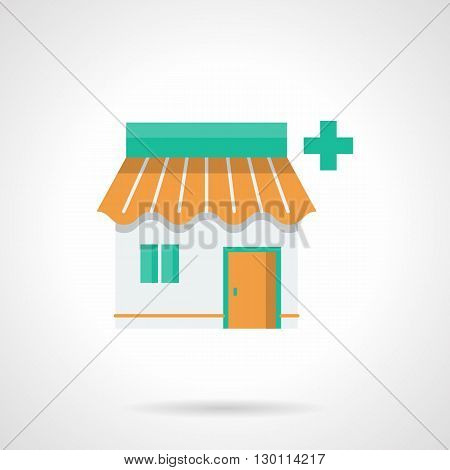Orange pharmacy facade with green medicine sign. Healthcare industry. Drugstore online symbol. Flat color style vector icon.