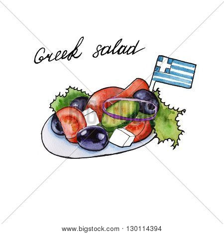 Greek salad. Sketch of the Greek cuisine. isolated. watercolor