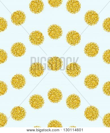 Seamless pattern with bright point on mint background. Wavy pattern gold confetti brilliant polka dot. Vector illustration template for wedding birthday card invitation gift new year xmas