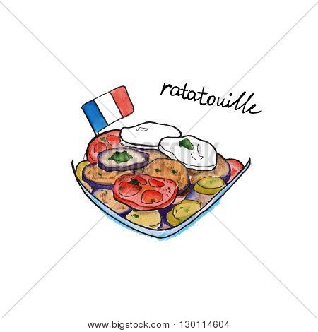 sketch ratatouille dish of French cuisine. isolated. watercolor
