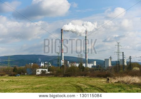 Power plant and tracks near Prunerov in north of Bohemia