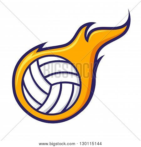 Vector stock of volley ball with flames sign symbol