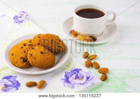 Homemade cookies tea cup and almond. Sweet dessert. Homemade biscuit. Breakfast cookies. Tea cup. Tea time. Homemade cookies.