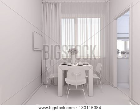 3D Visualization Of Interior Designkitchen In A Studio Apartment.