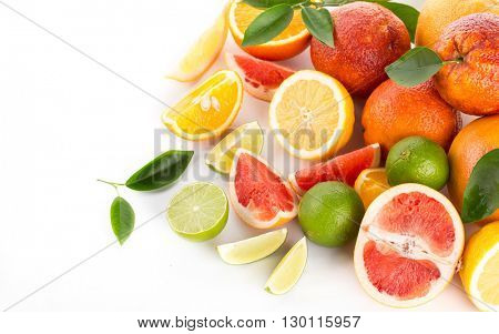 citrus fruit on a white background