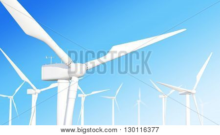 Ecological wind turbine on the sky background with the effect of depth of field. 3d illustration
