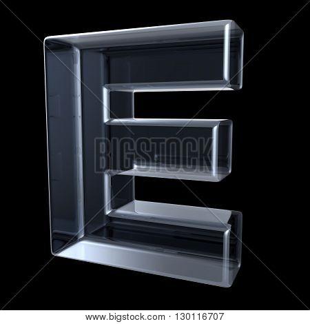 Transparent x-ray letter E. 3D render illustration on black background