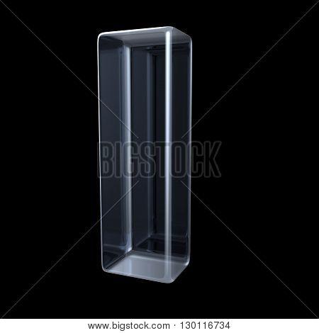 Transparent x-ray letter I. 3D render illustration on black background