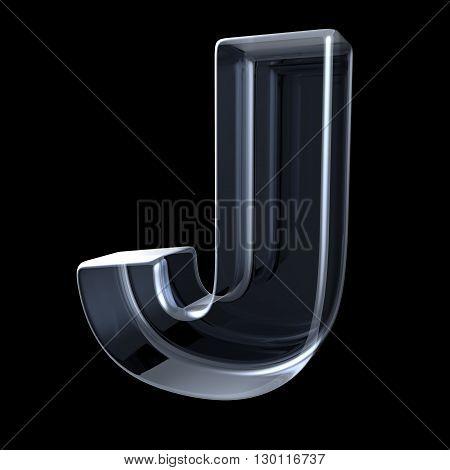 Transparent x-ray letter J. 3D render illustration on black background