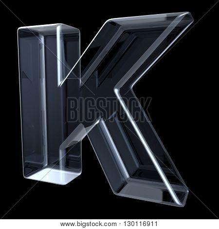 Transparent x-ray letter K. 3D render illustration on black background