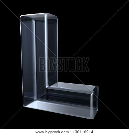 Transparent x-ray letter L. 3D render illustration on black background