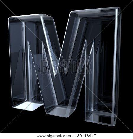 Transparent x-ray letter M. 3D render illustration on black background