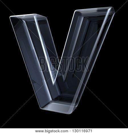 Transparent x-ray letter V. 3D render illustration on black background