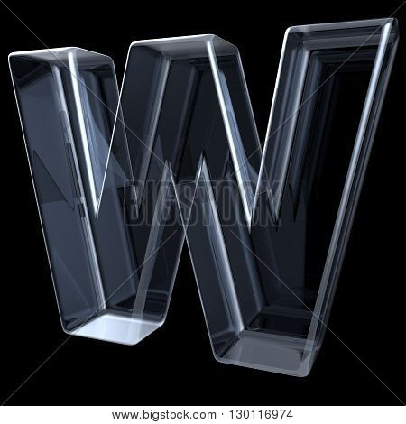 Transparent x-ray letter W. 3D render illustration on black background