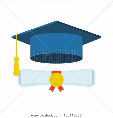 Graduation cap and diploma icon, Graduation cap and diploma web icon