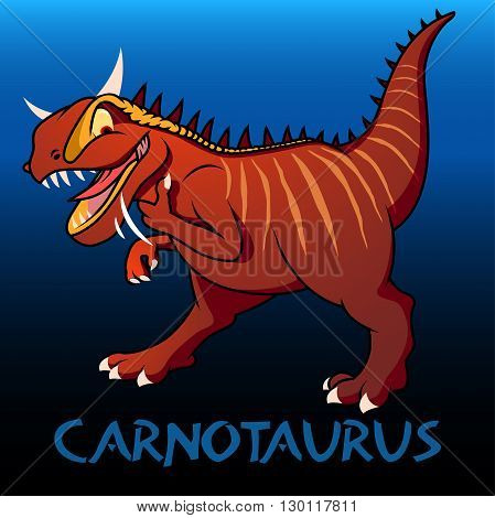 A red Carnotaurus cute character dinosaurs .