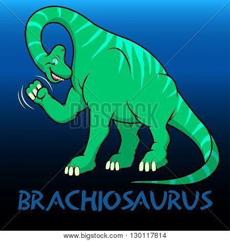 A green Brachiosaurus cute character dinosaurs .