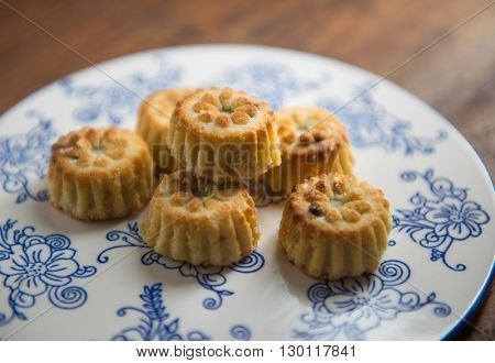 Popular middle eastern sweet. Maamoul biscuits placed on a flat plate.