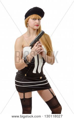 an attractive young sexy woman with a gun on white