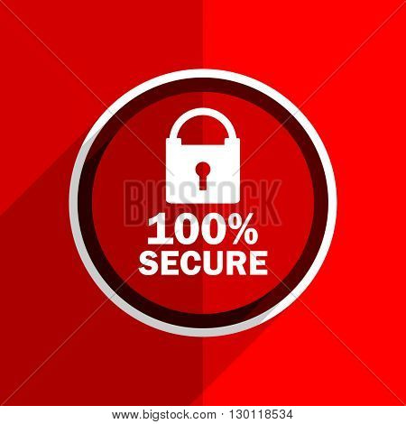 red flat design secure web modern icon